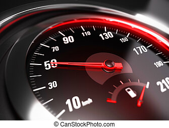 Reducing Speed Safe Driving Concept - 50 Km h - Close up of...