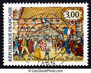 Postage stamp France 1998 Union of Mulhouse with France -...