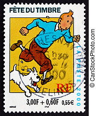 Postage stamp France 2000 Tintin, Comic Character - FRANCE -...