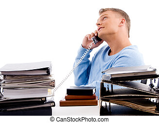 side view of young professional with phone  in an office