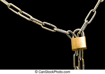 Lockdown - A chain and lock against a black computer screen...