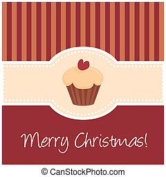 Vector christmas card with cupcake - Beautiful dark red...
