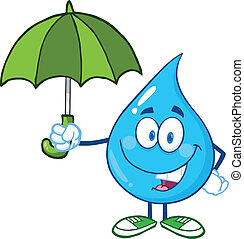 Smiling Water Drop With Umbrella Cartoon Character