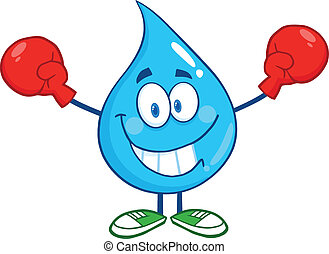 Water Drop With Boxing Gloves - Smiling Water Drop Character...