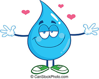 Water Drop With Open Arms - Smiling Water Drop Character...