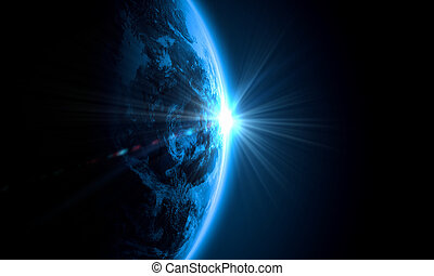 Planet Earth with appearing sunbeam light. Elements of this...