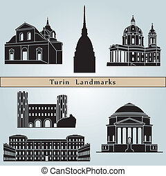 Turin landmarks and monuments isolated on blue background in...