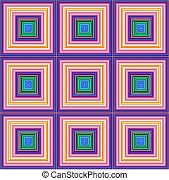 Pink green blue color square tiles seamless illustration.