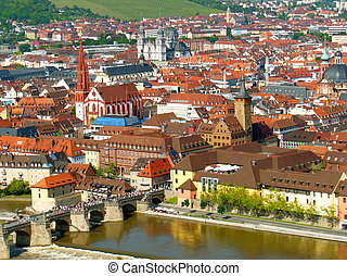 View of Wurzburg in Summer - View of Wurzburg city in...