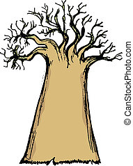 baobab - hand drawn, cartoon, sketch illustration of baobab