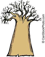 baobab - hand drawn, cartoon, sketch illustration of baobab