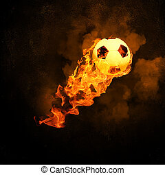 Soccer ball in fire - Image of soccer ball in fire flames...