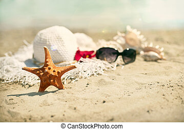 Collection of beach items - seastar, flip-flops, sunglasses...