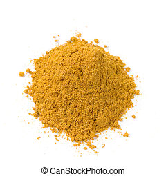 powder - pile of bright curry powder isolated on white...