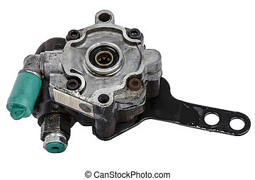 Worn out power steering pump removed from a car