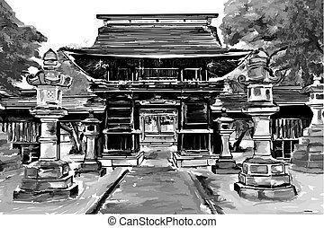 Japan gate,illustration - Illustration of an old...