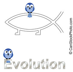 Evolution text and birds isolated on white background