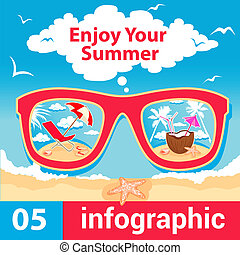 infographic summer time - Summer Travel Card in retro Style...