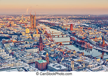 Frankfurt at sunset - View over Frankfurt am Main at sunset