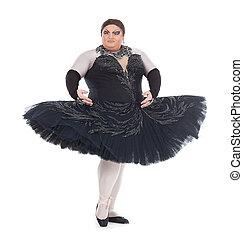 Drag queen dancing in a tutu - Overweight drag queen dancing...