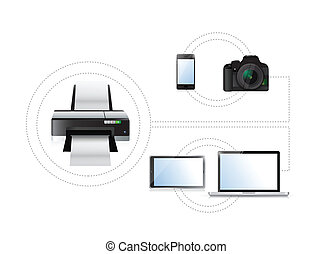 printing options. set of electronics. illustration