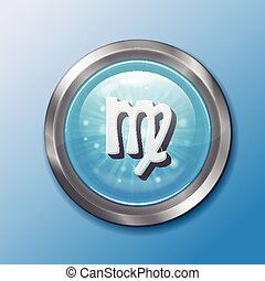 button Virgo - Realistic metal button with the sign of Virgo...