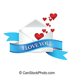 I love You mail envelope illustration design over white
