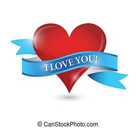 I love you heart illustration design