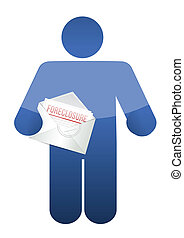 guy holding a foreclosure letter illustration design over...