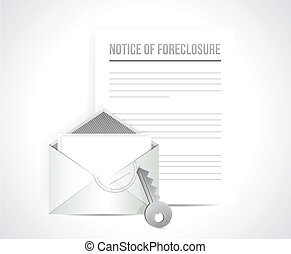 notice of foreclosure letter and envelope. illustration...
