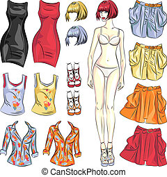 Vector cute dress up paper doll - Fashion girl: Cute dress...