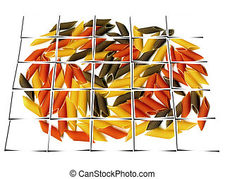 three colour penne italian pasta collage - penne italian...