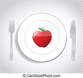 red apple as a meal. diet concept illustration