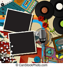 Music collage backound - Retro style musical theme collage