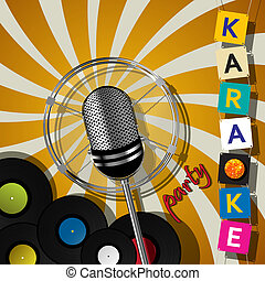 Karaoke party design - Party card with microphone for...
