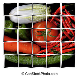 vegetable mix collage - assorted vegetables on black...