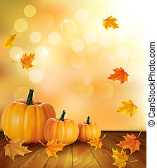 Pumpkins on wooden background with leaves Autumn background...