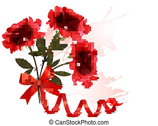 Holiday background with beautiful red roses and a ribbon. Vector illustration.