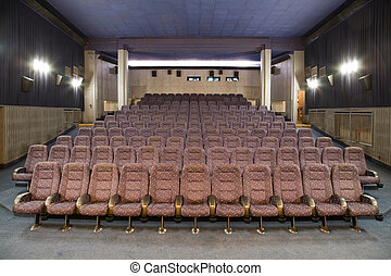Cinema interior - Empty new cinema auditorium with rows of...
