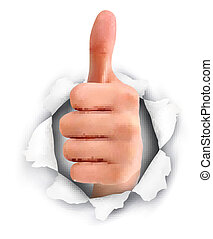 Hand with thumb up through a hole in ripped paper Vector