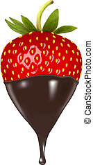 Chocolate dipped strawberry. Vector