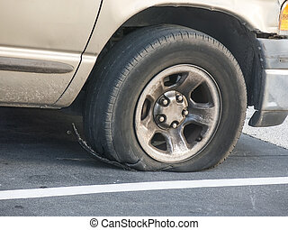 Tire Failure - Tire failure exposing the steelbelt after a...