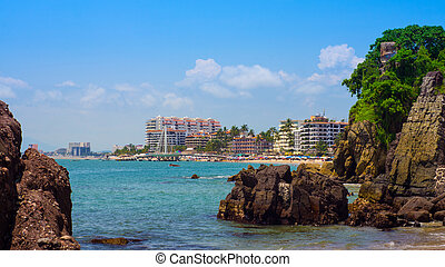 Puerto Vallarta - A look at the beach Zona Romatica, Puerto...