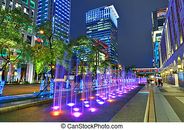 Taipei Downtown Cityscape - Nighttime fountains in Taipei,...