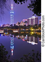 Taipei 101 at Night - TAIPEI, TAIWAN - JANUARY 14: Taipei...