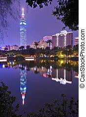 Taipei 101 at Night - TAIPEI, TAIWAN - JANUARY 14: Taipei...