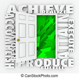 Achieve Word Door Accomplish Goals Successful Mission - A...