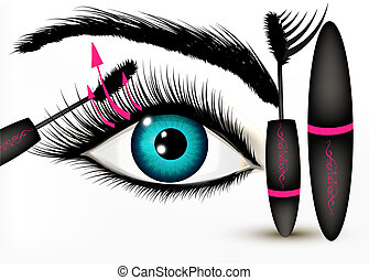 Artistic fashion conceptual background with blue human eye...