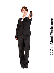 businesswoman with mobile phone - attractive businesswoman...
