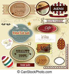 Collection of retro labels for desi - Set of vector labels...